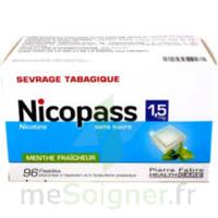 NICOPASS 1,5 mg Past sans sucre menthe fraîcheur Plq/96 à Libourne